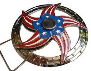Alwaystyle4you New Men Women Patriotic USA Flag Cowboy Spinning Texas Star Buckle
