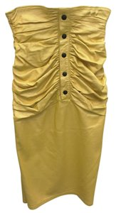 Emanuel Ungaro Leather Rouched Skirt Yellow