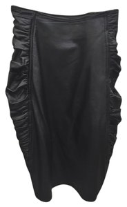 Emanuel Ungaro Pencil Rouching Leather Skirt Black