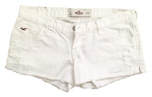 Hollister Summer Denim Destroyed Denim Cut Off Shorts White