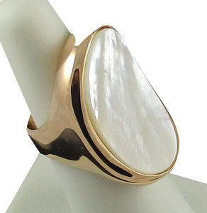 Honora Honora Concave Oval White Mother-of-Pearl Rose-Colored Bronze Ring