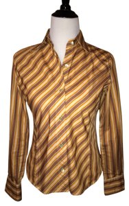 Faonnable Button Down Shirt Orange, Yellow, Red, Charcoal, Cream