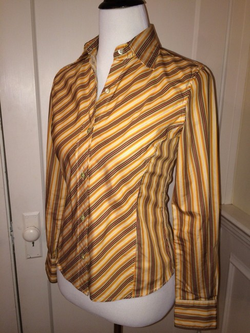 Façonnable Button Down Shirt Orange, Yellow, Red, Charcoal, Cream
