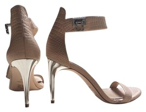 BCBGMAXAZRIA Open Toe Croc Leather Look High Heels Nude Sandals