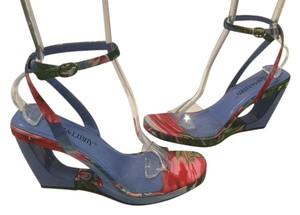 Sam & Libby Floral Pattern Triangle See Through Ankle Straps Multi color fabric & clear vinyl open Wedges