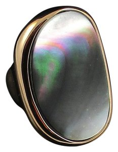 Honora Honora Concave Oval Black Mother-of-Pearl Rose-Colored Bronze Ring