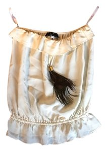 Karina Grimaldi Strapless Feather Boho Chic Top Off White