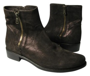 Sesto Meucci Zipper Low Heel Shimmer Ankle Brown Boots