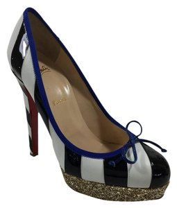 Christian Louboutin Foraine Platform Striped Gold White/Navy/Gold Pumps