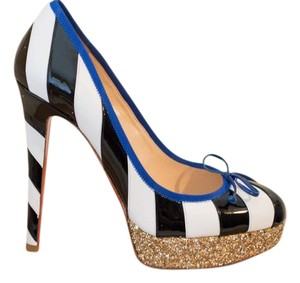 Christian Louboutin Foraine Platform Striped Gold White Pumps