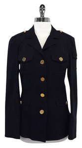 Tory Burch Navy Cotton Gold Button Jacket