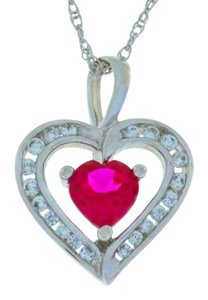 Ruby & Zirconia Heart Pendant .925 Sterling Silver