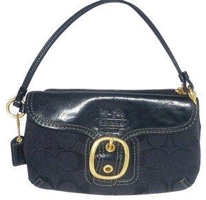Coach Limited Edition Jacquard Brass Buckle Leather Tattersall Wristlet in Black