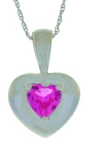 Other Pink Sapphire Heart Pendant .925 Sterling Silver