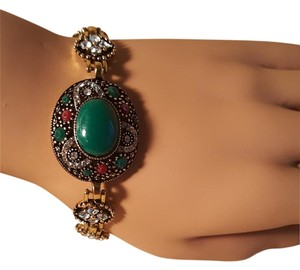 Bohemian Resin Green Stone Brass Bracelet with Gold plating