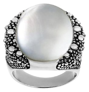 Michael Dawkins Michael Dawkins Sterling and White Mother-of-Pearl Starry Night Doublet Ring - Size 9