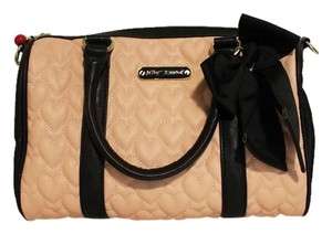 Betsey Johnson Quilted Hearts Satchel in Pink & Black