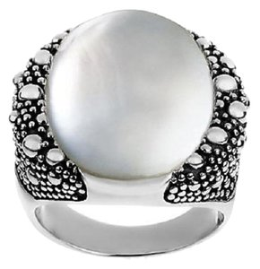 Michael Dawkins Michael Dawkins Sterling and White Mother-of-Pearl Starry Night Doublet Ring - Size 8