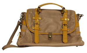 Anthropologie Leather Soft Vintage Large Tan & Mustard Messenger Bag