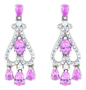 Other Pink Sapphire & White Sapphire Pear Drop Dangle Stud Earrings .925 Sterling Silver
