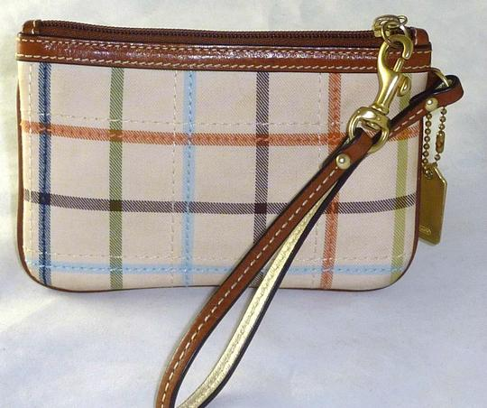 Coach Bleecker Check Key Fob Fob Cell Phone Wristlet in Multi-Color