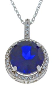 3.5 Ct Blue Sapphire & White Sapphire Round Pendant .925 Sterling Silver