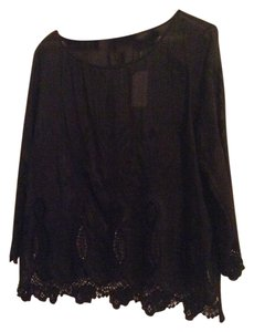 Banana Republic Embroidered Scalloped Top Black