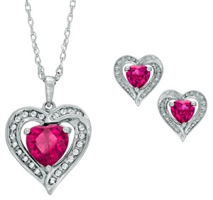 Other Ruby & White Sapphire Heart Stud Earrings and Pendant .925 Sterling Silver