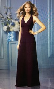Wtoo Aubergine ** Brand New ** Not Altered ** Bridesmaid Halter Dress With Ruffle Detailed Back / 495 Dress