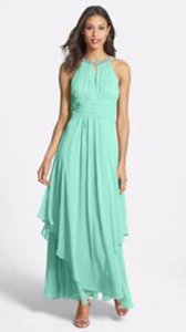 Eliza J Mint Eliza J Embellished Tiered Chiffon Halter Gown Dress