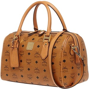 MCM Heritage Boston Bowler Satchel in COGNAC