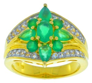 Other 14Kt Yellow Gold Plated Green Agate Ring