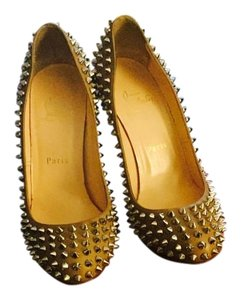 Christian Louboutin Nude silver spikes Pumps