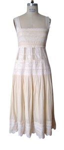 Off white and cream Maxi Dress by Catherine Malandrino Lace Trim Long Cotton Summer