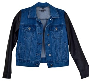 byCorpus Denim Faux Leather Womens Jean Jacket