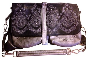 Nicole Lee Vegan Discontinued Vhtf Pewter Embroidered Embellished Shoulder Bag