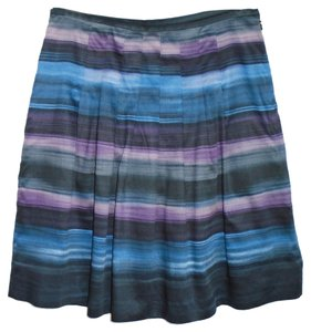 Ann Taylor LOFT Cotton Casual Summer Stripes Skirt Black and Blue