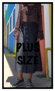 Plus Size Curvy Slimming Midi Skirt Black denim