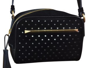 Brian Atwood Small Leather Cut Outs Top Closure Long Zipper Pull Shoulder Bag