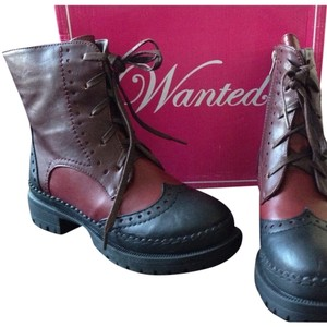 Wanted Modern Vintage Modern Chic Combat Style Wingtip Oxford Multicolor Vegan Reminiscent Of Pantone Marsala Oxblood, Red, Brown, Black Boots