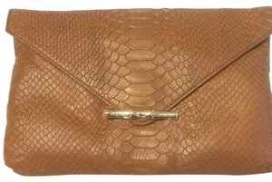 Elaine Turner Python Nwt Brand Dust Cover Gold Hardware Classic Brown Clutch