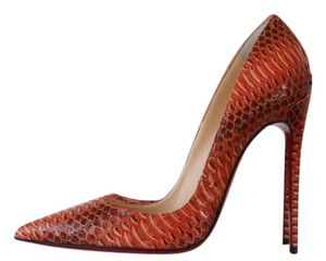 Christian Louboutin Heels Stiletto Snakeskin So Kate Orange Pumps