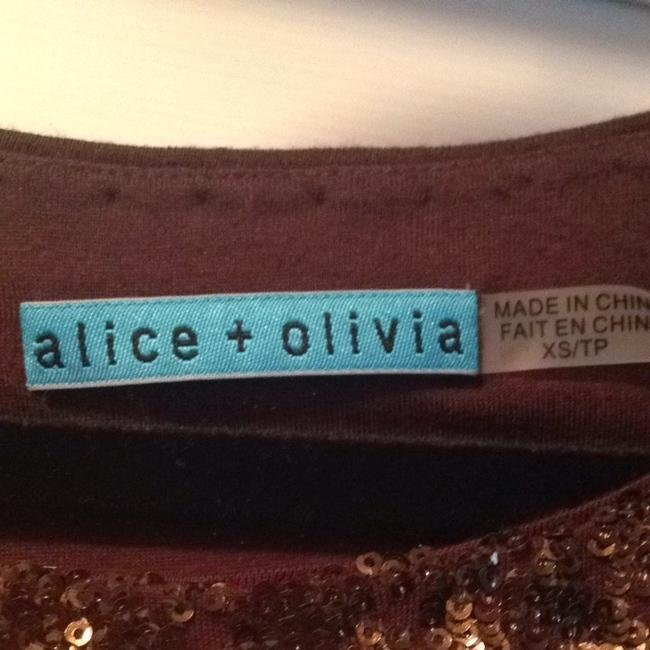 Alice + Olivia Top Bronze Sequins