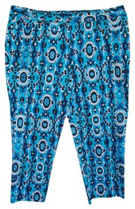 Jones New York Casual Cotton Summer Ikat Straight Pants Turquoise, Black and White