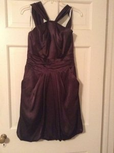 David's Bridal Chocolate Brown Polyester 84177au Modern Bridesmaid/Mob Dress Size 4 (S)