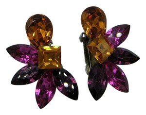 Wendy Gell Vintage 80s Signed Wendy Gell Encrusted Crystal Clip On Earrings