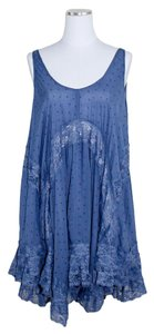 Free People short dress blue bell Boho Slip Flowy Floral Lace on Tradesy