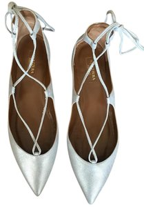 Aquazzura Leather Christy Christy Silver Flats