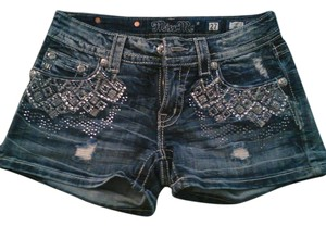Miss Me Studded Denim Shorts-Distressed