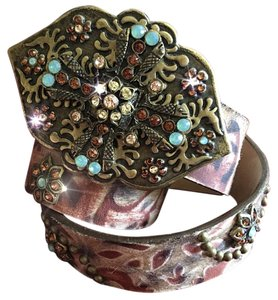 Leatherock Leatherock Studded Hair-on painted & Rhinestone Belt & Buckle